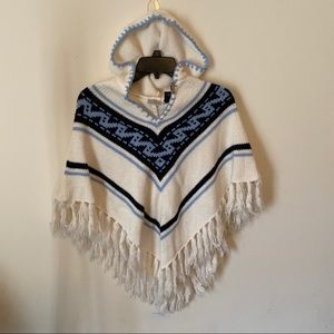 Arizona Aztec poncho with hood. Large
